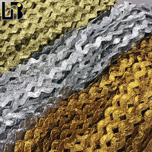 8MM Gold&Silver Ric Rac Wave Ribbon Band