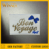 personalized design gold foil stamping white leather patch labels