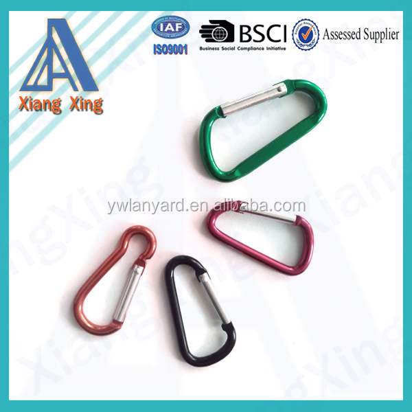 China wholesale cheap colourful key chains carabiner hook/aluminum carabiner hook