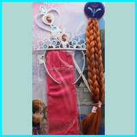 Wholesale fashion kids big beautiful magic wand+ crown+gloves+wig jewelry set for girls cosplay