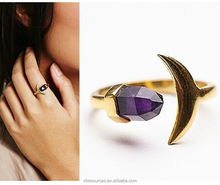 Fashion women jewelry accessories European and American crescent inlaid amethyst ring natural stone open ring for women