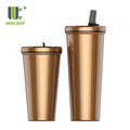 Wholesale New Design 16OZ 24OZ Leakproof Travel Double Wall Stainless Steel Coffee Tumbler With Silicone Sipper