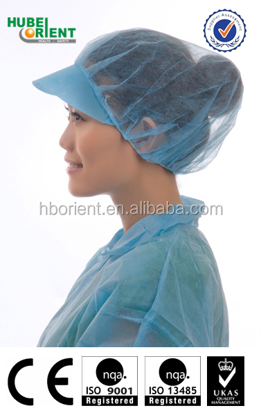 disposable hair net with peak for workers