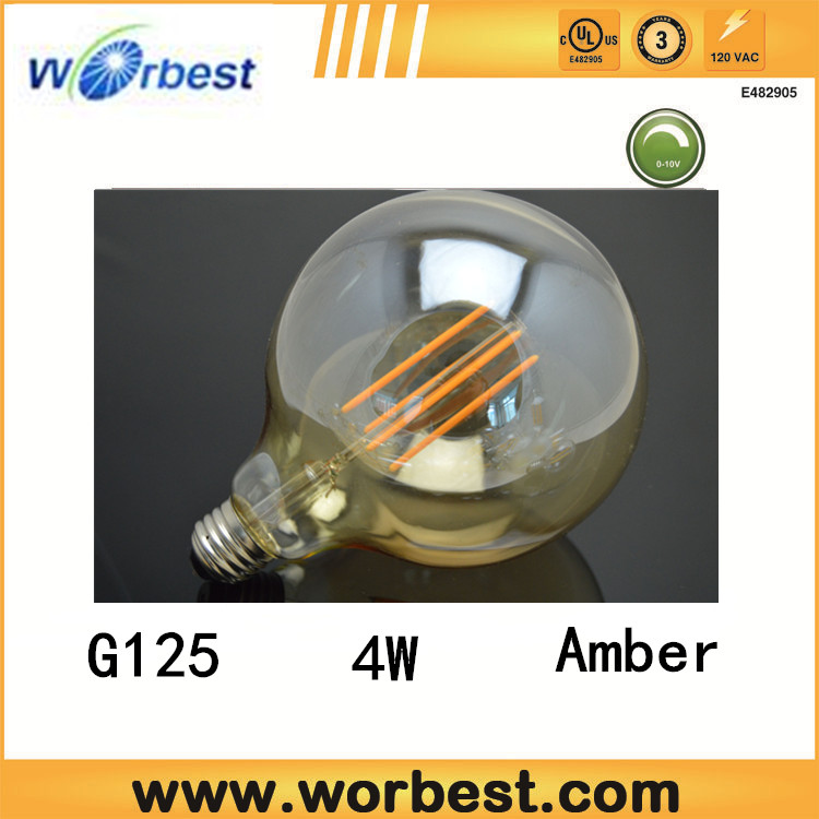 promotion Alibaba China suppliers CE/UL listed g125 led filament bulb