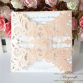 Personalized initials laser cut lace blush peach wedding invitations card