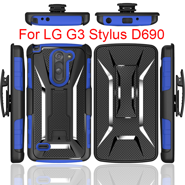 2017 Trade Assurance Supplier Armor KickStand cell phone Combo case covers for LG G3 stylus d690,For LG G3 Stylus Case Cover