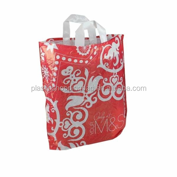 HDPE LDPE OEM Printed Soft Loop Handle Plastic Carrier Bag Wholesale