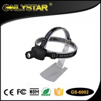 Onlystar GS-6002 best sell plastic body 1w black led source bulb light 3 modes head lamp powerful zoom led headlamp flashlight