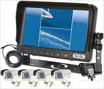 "7""Digital Screen Waterproof Monitor 600TVL Quad Rearview Monitor Camera System"