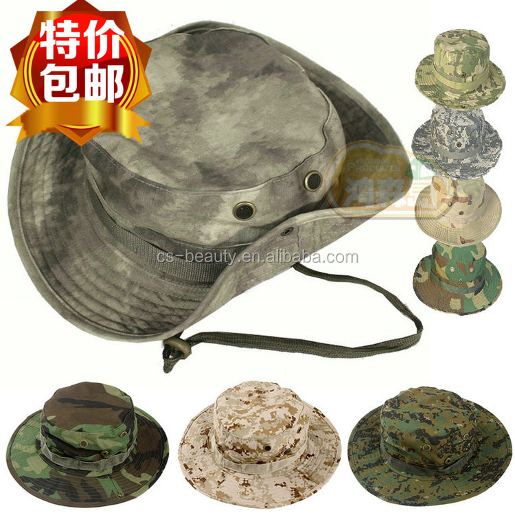 Outdoor Ripstop Camouflage Hats, Breathable Adjustable Camo Military Boonie Hat