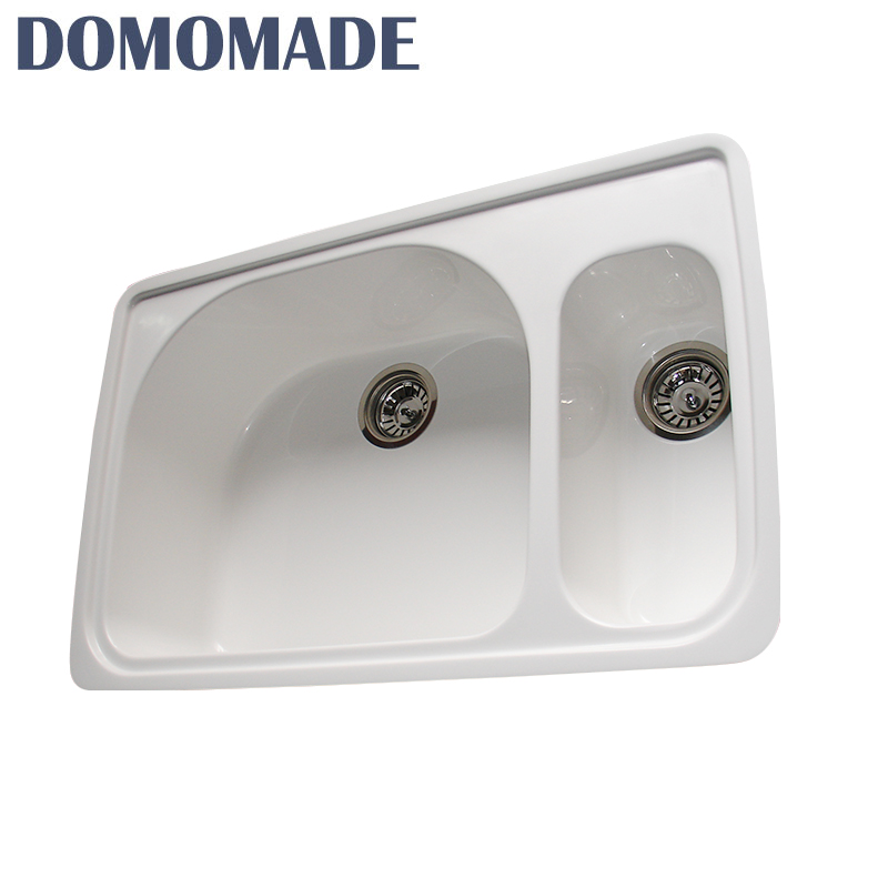Various design integrated cultured double bowl composite stone kitchen sink stone