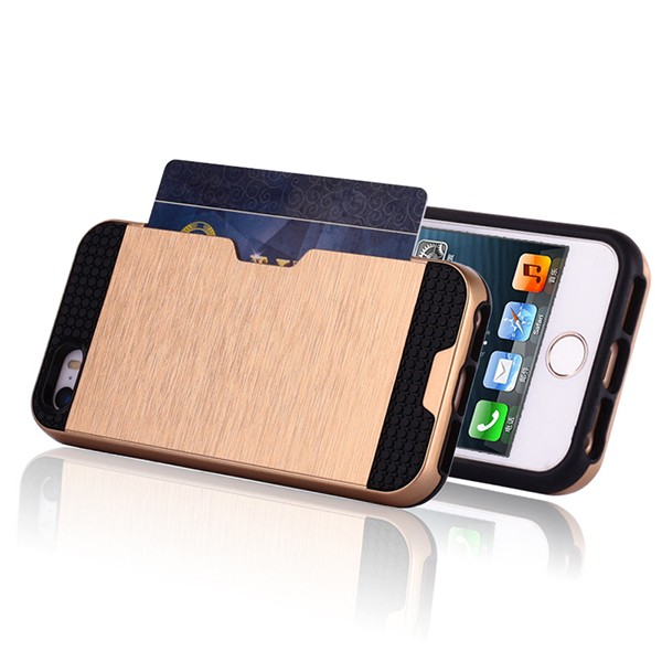 IP5026 Mobile Phone Hybrid Combo Case for iPhone 5S , Wire Drawing Card Slot TPU PC Case for iPhone 5S