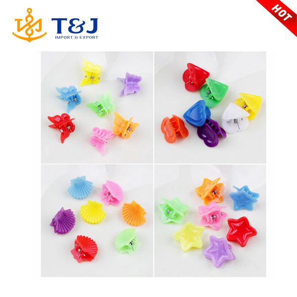 Latest design fancy kids children's candy color cute various shapes small plastic express hair claws