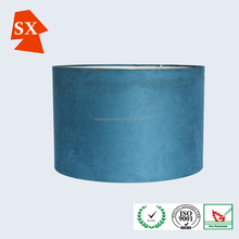 Smart wonderful big slate blue hanging velvet fabric PVC cylinder light shade