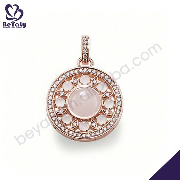 High quality rose gold plated round silver zircon necklace