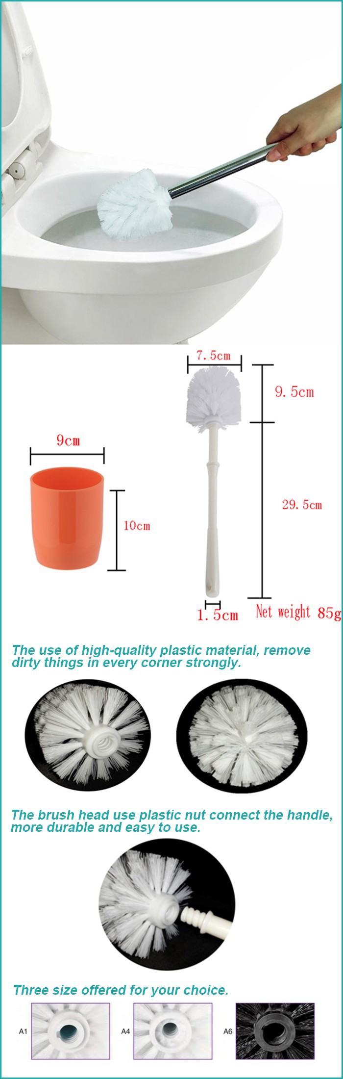 low moq high quality workable plastic toilet brush holder set