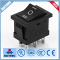 6A 250VAC 6pin 3ways rocker switch with black cover