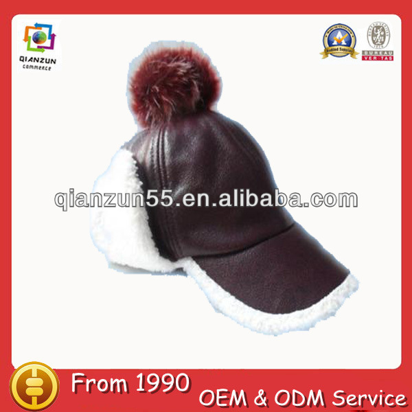 Winter hat and cap with top ball leather with earflaps brim wholesale blank cheap winter hats for women