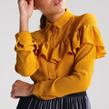 Newest casual wear for women clothing shirt collar long sleeve top