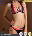 Special sexy stripe print nylon spandex halter bikini with fashion hot fix rhinestone.