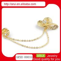 China gold ladies hat shape brooch shoulder pins crystal brooches