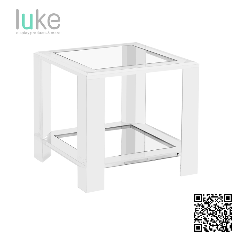 Customized Size DIY acrylic end table with shelf