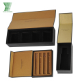 China Factory Luxury Custom black magnetic closure cardboard box with gold insert
