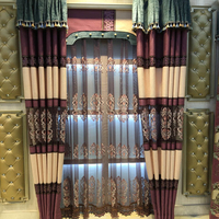 Classic Dubai curtain design cafe office stripe embroidered sheer curtains