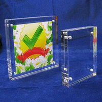 High transparency Desk Acrylic Block Frame, Tabletop Plexiglass Magnetic Photo Block Frame, Clear Magnetic Block