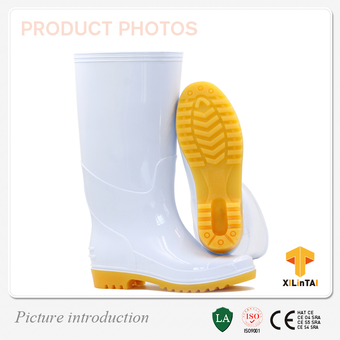 White Long PVC Rain Working Boots