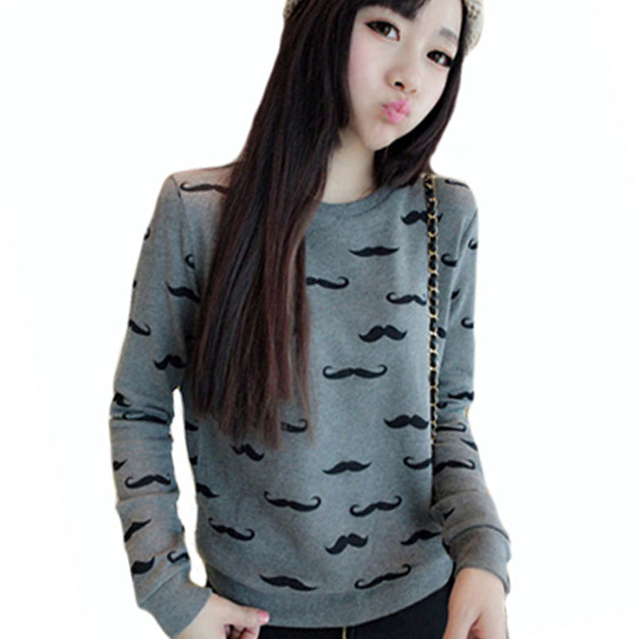 Free shipping 2015 new women's fashion cute mustache printing Dongkuan female long-sleeved sweatshirts women 17