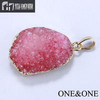 In Stock! Wholesale Price Charm Pink Druzy Pendant Connector Gold Plating Natural Drusy Agate Gemstone Pendant Necklace