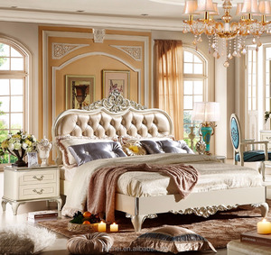 White color French style royal luxury bedroom set luxury