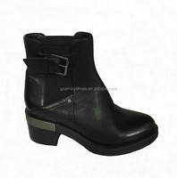 2015 Fashion high quality kitten heel genuine leather flat women ankle boot