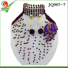Factory handmade bridal african beads wholesale jewelry set JQ007-7 dark purple