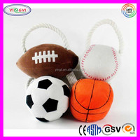 B629 Basketball Football Baseball Soccer Style Pet Dog Toy Soft Cotton Rope Squeaky Pet Bauble