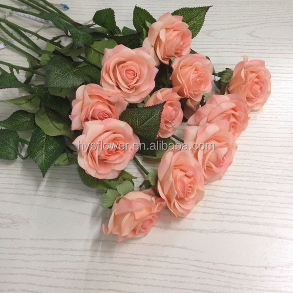 flores artificial Latex real touch preserved single stem champagne rose flower reception wedding decoration