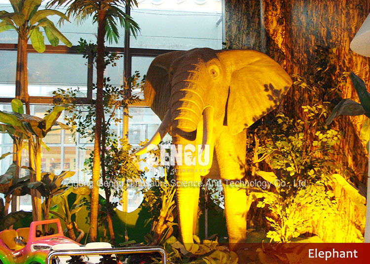 Antique fiberglass bronze elephant statue for exhibition