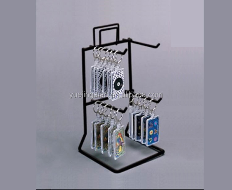 Metal wire counter knick-knack display holder hanging trinket display shelf key chain display rack for sale