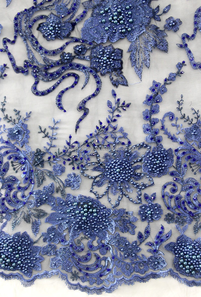High fashion beaded sequins Fancy embroidery tulle french lace fabric