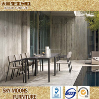 water proof garden patio furniture, new design outdoor aluminum furniture, woven rope outdoor dining set(ATC002)