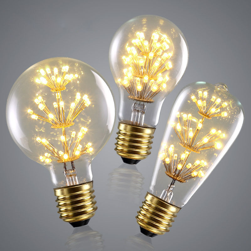 New Product LED Fireworks Filament Light Vintage Edison Style LED Starry Bulb 3W 220V Decorative <strong>Lamp</strong> ST64