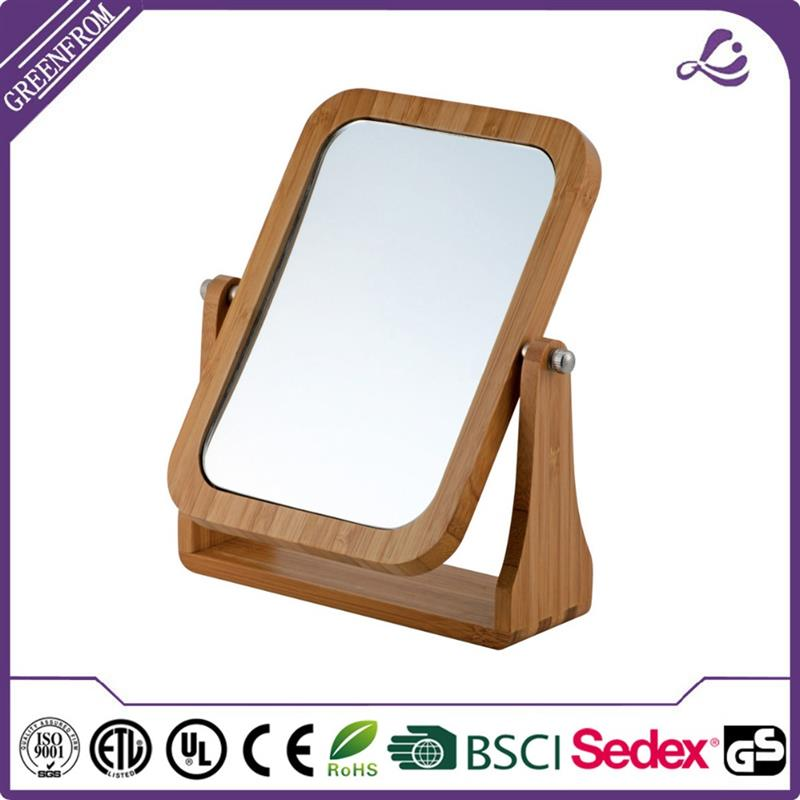 New design table window antique wooden frame mirror makeup wood framed wall mirror