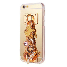 Luxury jewelry gold chain mirror TPU cell phone case for iPhone 6 6 Plus