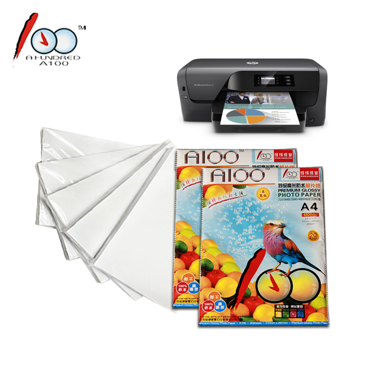 200g high glossy waterproof inkjet photo paper with our brand <strong>A100</strong>