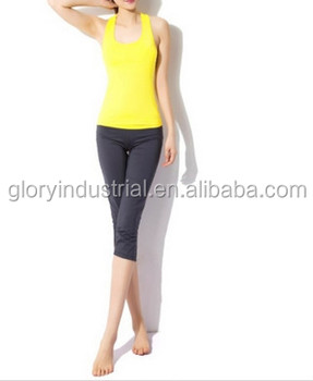Yellow Women Aerobics Pant Yoga Clothing Body Building sport wear