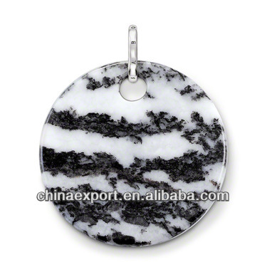 Copper alloy clasp for charms the large round disc Zebra jasper Pendants