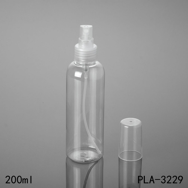 customized logo personal care round shoulder clear spray bottle pet plastic 200ml 150ml 120ml