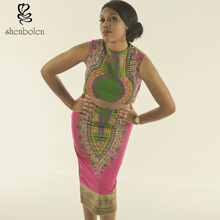 M3328 african two pieces dashiki print sleevelesstop with pencil skirt for girls