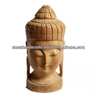 Wooden buddha Statue Handmade Display Indian Handicrafts Gift Items